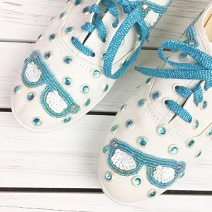 Glitzies Shoes - Glitzies Ivory Canvas Teal Studded Sneakers